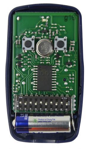 Ouverture automatisée de la porte du garage (ou du portail, etc.). Telecommande-portail-NICE-FLO2SWITCHS